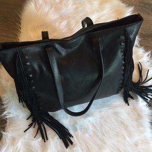 Saks Fifth Avenue fringed black tote/purse